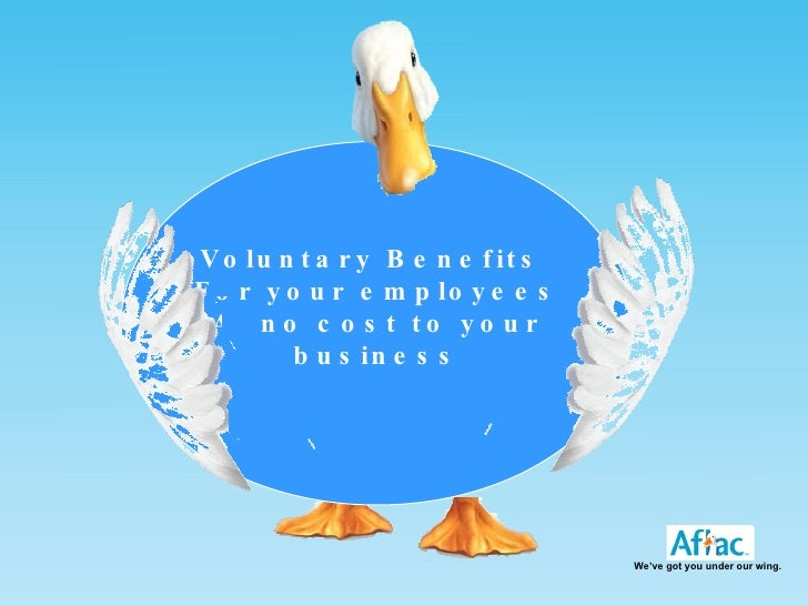 Voluntary Benefits  For your employees At no cost to your business We've got you under our wing.