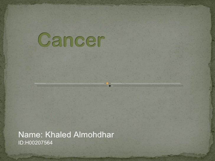 Name: Khaled AlmohdharID:H00207564