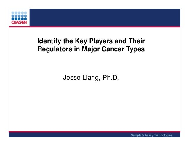 Identify the Key Players and Their Regulators in Major Cancer Types  Jesse Liang, Ph.D.  1 Sample & Assay Technologies