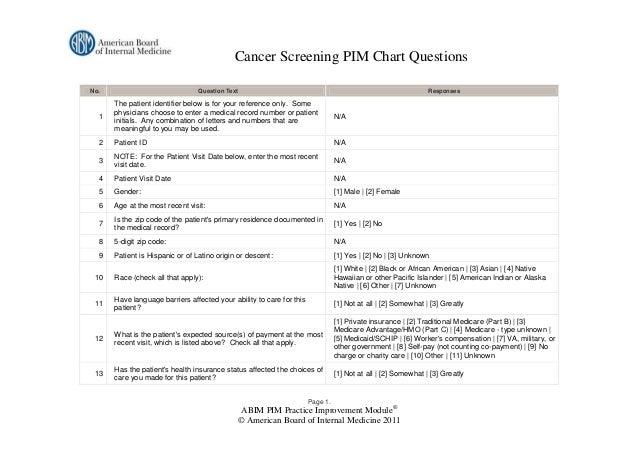 Cancer Screening PIM Chart QuestionsNo.                              Question Text                                        ...