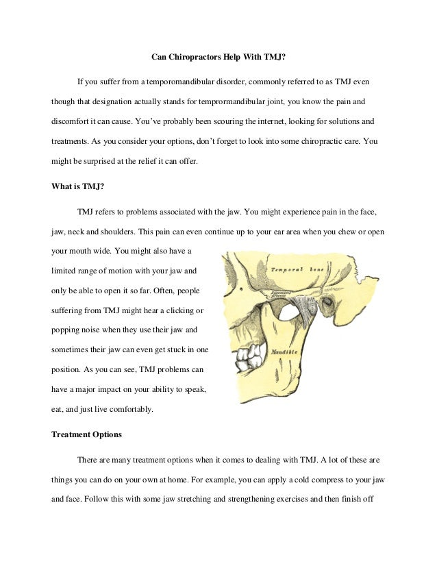 Can Chiropractors Help With TMJ? If you suffer from a temporomandibular disorder, commonly referred to as TMJ even though ...