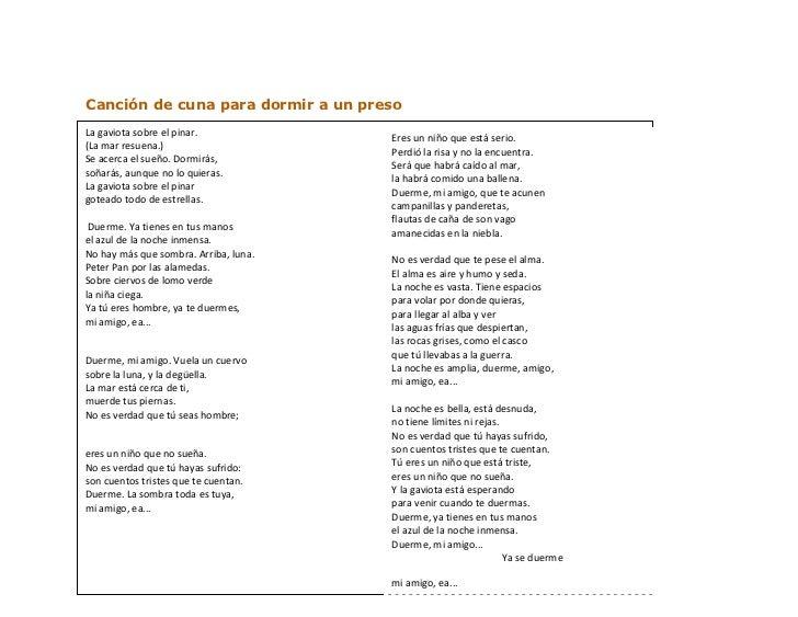 Canción de cuna para dormir a un preso<br />-10541073660La gaviota sobre el pinar. (La mar resuena.) Se acerca el sueño. D...