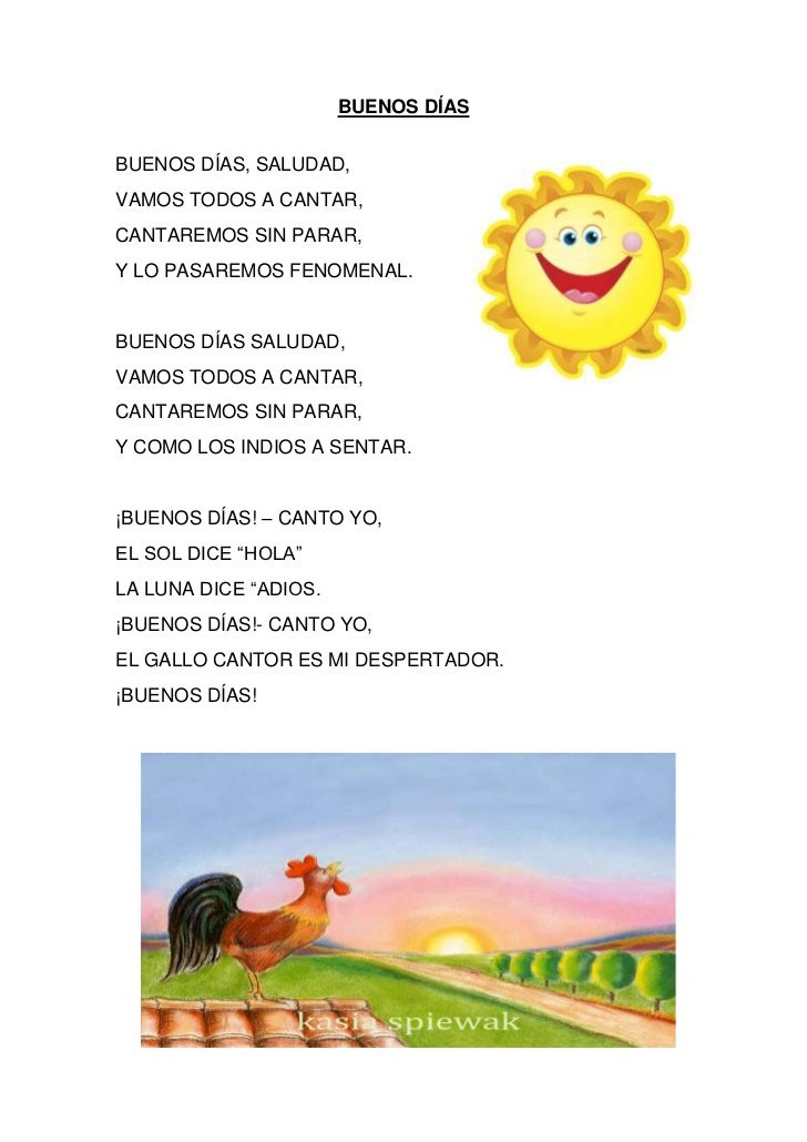 Canci n buenos d as for Cancion infantil hola jardin