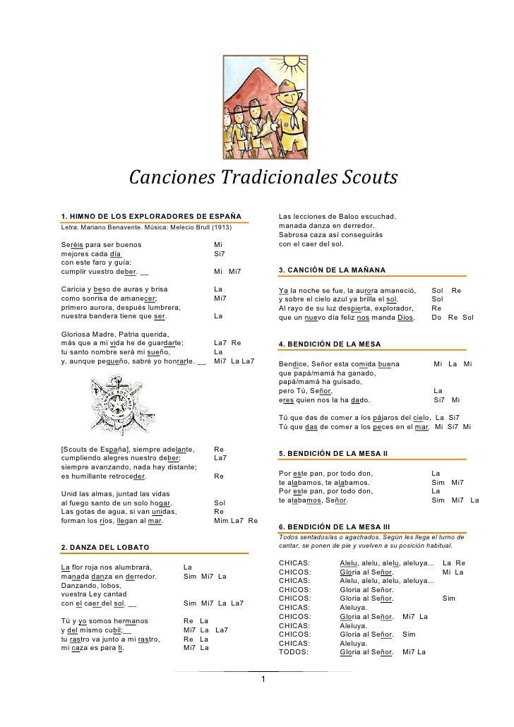 CancionesTradicionalesScouts1. HIMNO DE LOS EXPLORADORES DE ESPAÑA                           Las lecciones de Baloo esc...