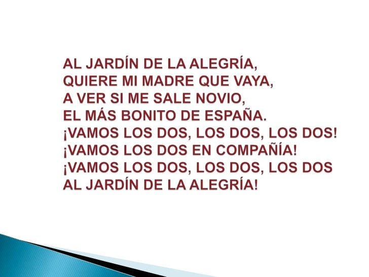 Canciones populares for Cancion el jardin de la alegria