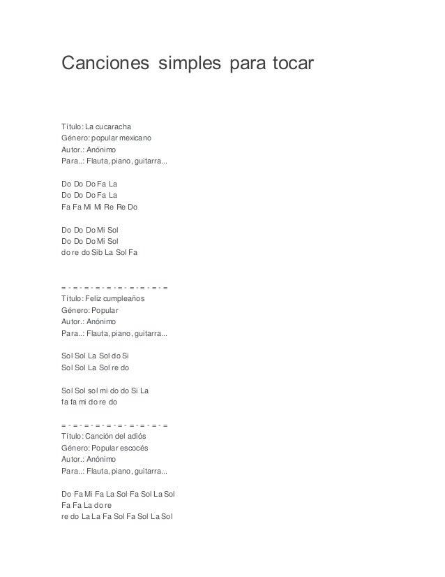 Canciones Simples Para Tocar