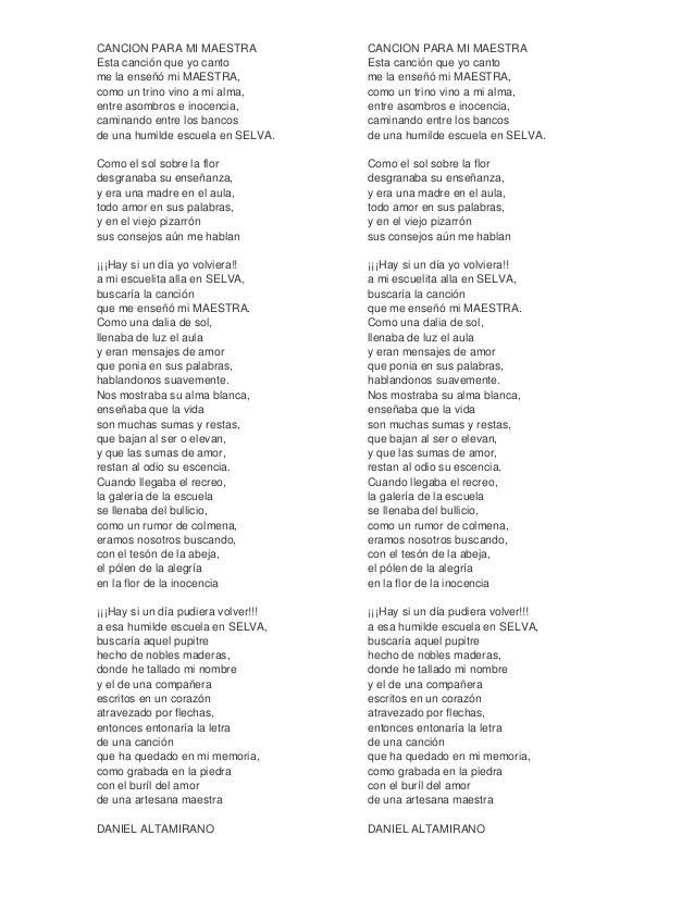Cancion Para Mi Maestra