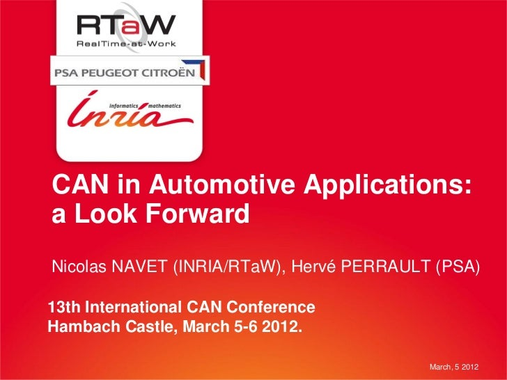 CAN in Automotive Applications:a Look ForwardNicolas NAVET (INRIA/RTaW), Hervé PERRAULT (PSA)13th International CAN Confer...