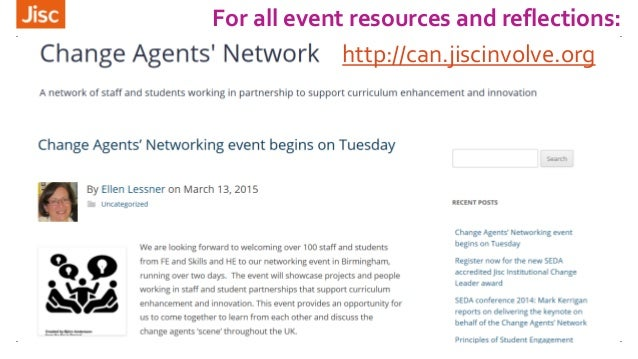 For all event resources and reflections: http://can.jiscinvolve.org