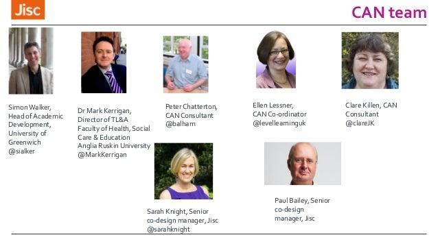 CAN team Sarah Knight, Senior co-design manager, Jisc @sarahknight PeterChatterton, CAN Consultant @balham Simon Walker, H...