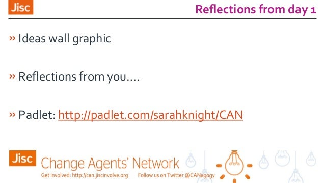 Reflections from day 1 »Ideas wall graphic »Reflections from you…. »Padlet: http://padlet.com/sarahknight/CAN