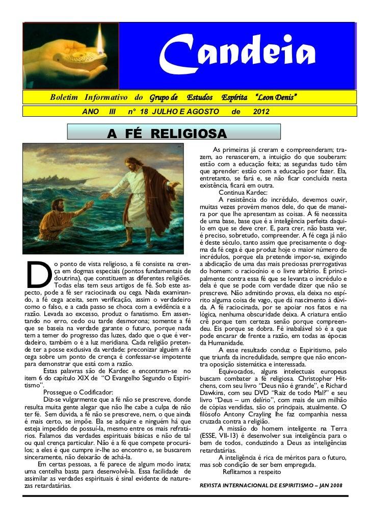 """Candeia         Boletim Informativo do Grupo de                    Estudos      Espírita """"Leon Denis""""                     ..."""