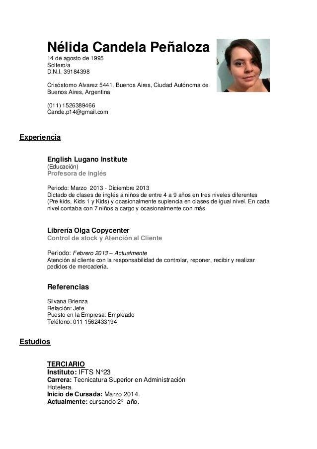 Candela peñaloza Curriculum Vitae