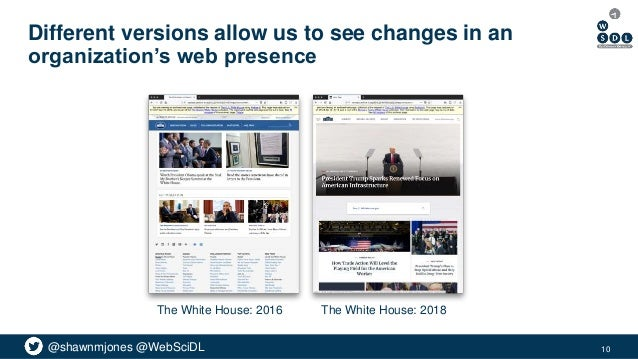 @shawnmjones @WebSciDL Different versions allow us to see changes in an organization's web presence 10 The White House: 20...