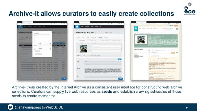 @shawnmjones @WebSciDL Archive-It allows curators to easily create collections Archive-It was created by the Internet Arch...