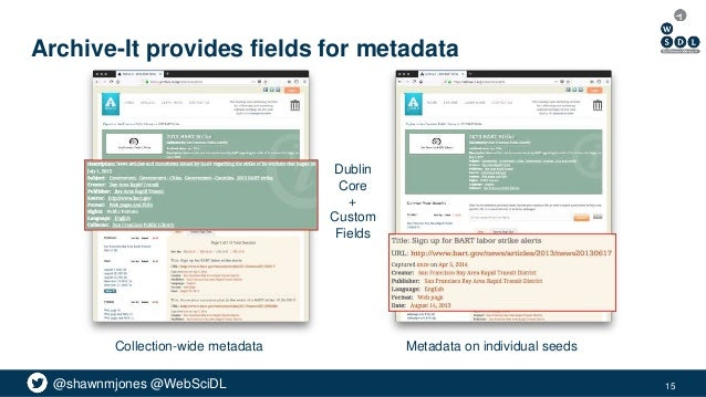 @shawnmjones @WebSciDL Archive-It provides fields for metadata 15 Collection-wide metadata Metadata on individual seeds Du...