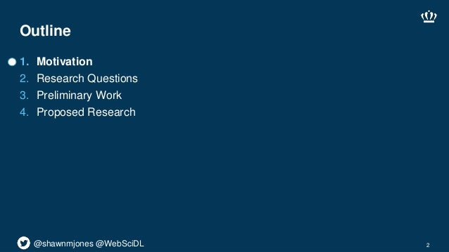@shawnmjones @WebSciDL Outline 1. Motivation 2. Research Questions 3. Preliminary Work 4. Proposed Research 2