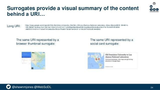 @shawnmjones @WebSciDL Surrogates provide a visual summary of the content behind a URI… 24 https://www.google.com/maps/dir...