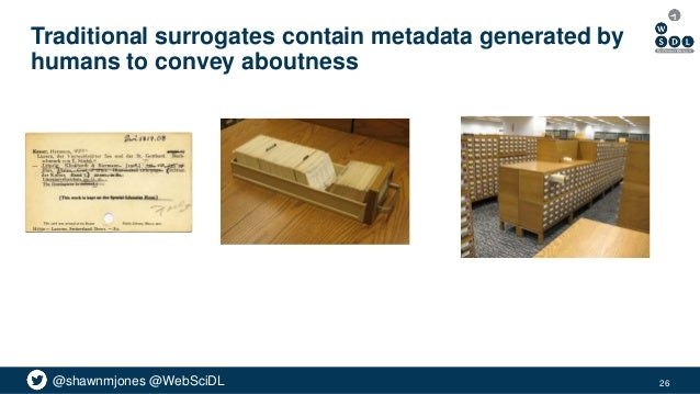 @shawnmjones @WebSciDL Traditional surrogates contain metadata generated by humans to convey aboutness 26