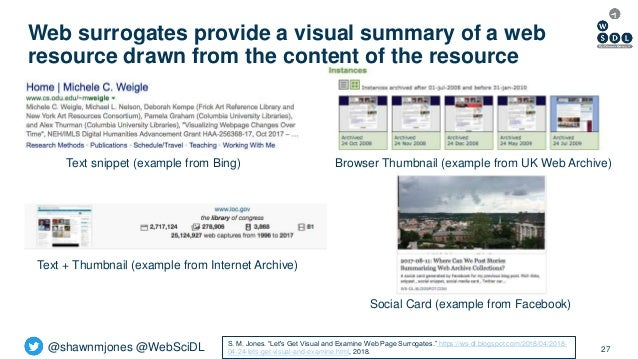 @shawnmjones @WebSciDL Web surrogates provide a visual summary of a web resource drawn from the content of the resource 27...
