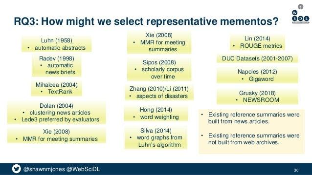 @shawnmjones @WebSciDL RQ3: How might we select representative mementos? Luhn (1958) • automatic abstracts Silva (2014) • ...