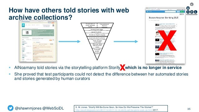 @shawnmjones @WebSciDL How have others told stories with web archive collections? 35  AlNoamany told stories via the stor...