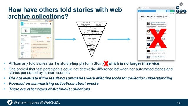 @shawnmjones @WebSciDL How have others told stories with web archive collections?  AlNoamany told stories via the storyte...
