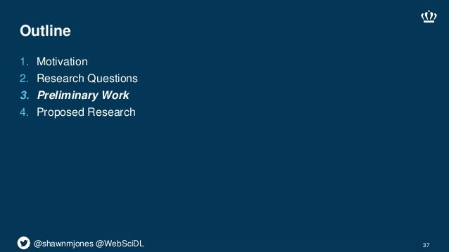 @shawnmjones @WebSciDL Outline 1. Motivation 2. Research Questions 3. Preliminary Work 4. Proposed Research 37