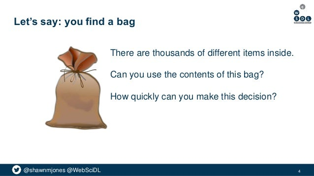 @shawnmjones @WebSciDL Let's say: you find a bag There are thousands of different items inside. Can you use the contents o...