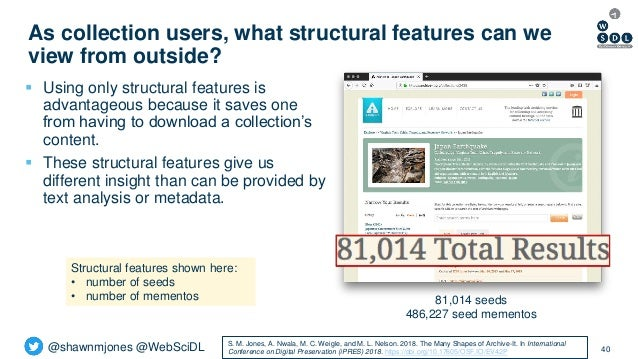 @shawnmjones @WebSciDL As collection users, what structural features can we view from outside? 40  Using only structural ...