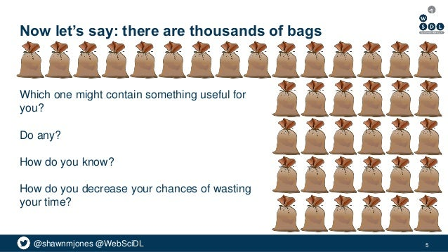 @shawnmjones @WebSciDL Now let's say: there are thousands of bags Which one might contain something useful for you? Do any...