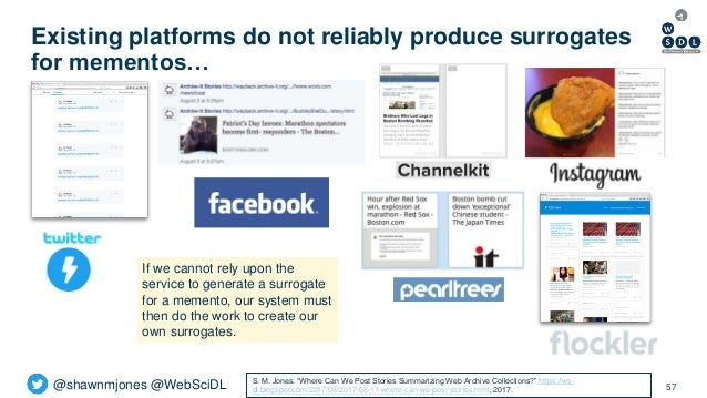 @shawnmjones @WebSciDL Existing platforms do not reliably produce surrogates for mementos… 57 If we cannot rely upon the s...