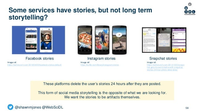 @shawnmjones @WebSciDL Some services have stories, but not long term storytelling? 58 Facebook stories Image ref: https://...