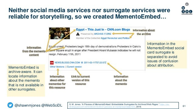 @shawnmjones @WebSciDL Neither social media services nor surrogate services were reliable for storytelling, so we created ...