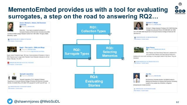 @shawnmjones @WebSciDL MementoEmbed provides us with a tool for evaluating surrogates, a step on the road to answering RQ2...
