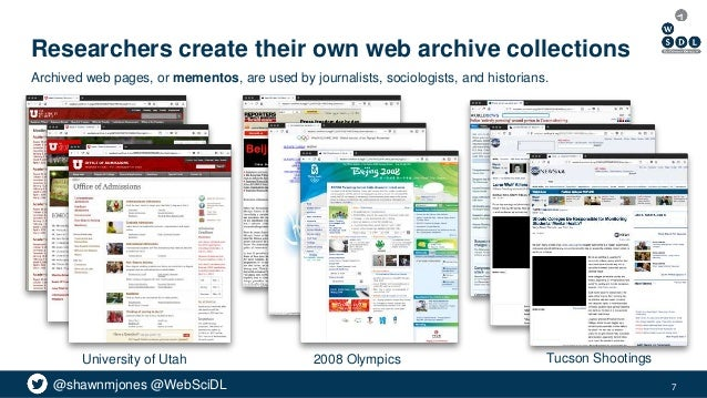 @shawnmjones @WebSciDL Researchers create their own web archive collections 7 Archived web pages, or mementos, are used by...
