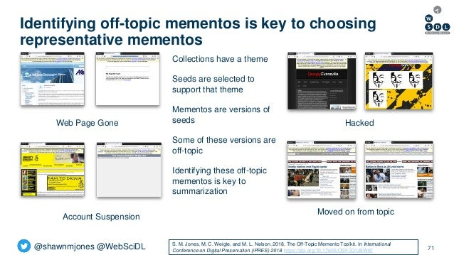 @shawnmjones @WebSciDL Identifying off-topic mementos is key to choosing representative mementos 71 Hacked Moved on from t...