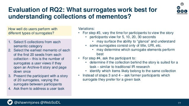 @shawnmjones @WebSciDL Evaluation of RQ2: What surrogates work best for understanding collections of mementos? 77 How well...