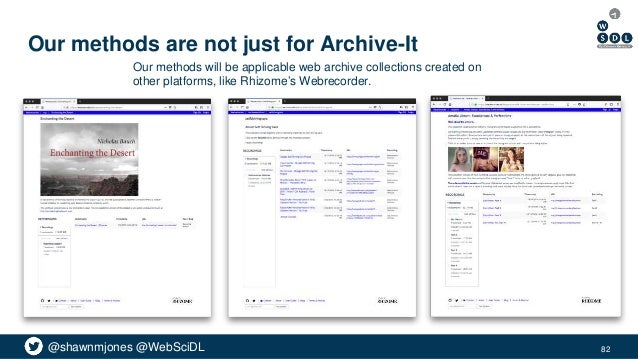 @shawnmjones @WebSciDL Our methods are not just for Archive-It 82 Our methods will be applicable web archive collections c...