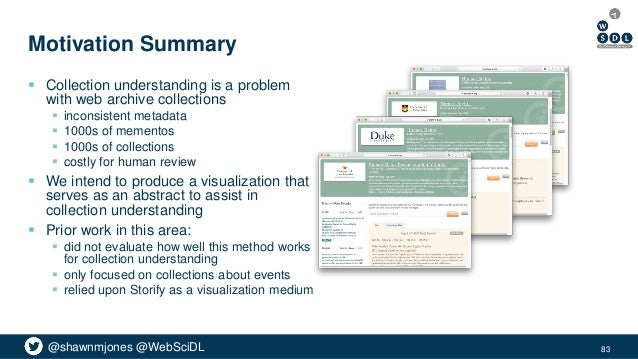 @shawnmjones @WebSciDL Motivation Summary  Collection understanding is a problem with web archive collections  inconsist...