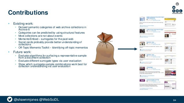 @shawnmjones @WebSciDL Contributions  Existing work:  Derived semantic categories of web archive collections in Archive-...