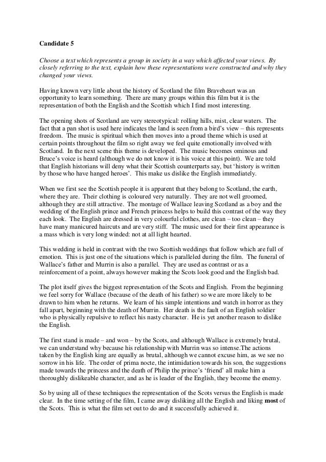 braveheart + essay An essay or paper on william wallace & scottish nationalism william wallace, immortalized by mel gibson in the film braveheart, is considered the founder of scottish nationalism the three adjectives i would most use to describe him are: ferocious, pious, and nationalist for a long while, it wa.