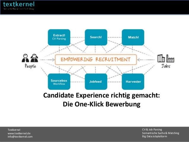 Textkernel www.textkernel.de info@textkernel.com CV & Job Parsing Semantische Suche & Matching Big Data Jobplattorm Candid...