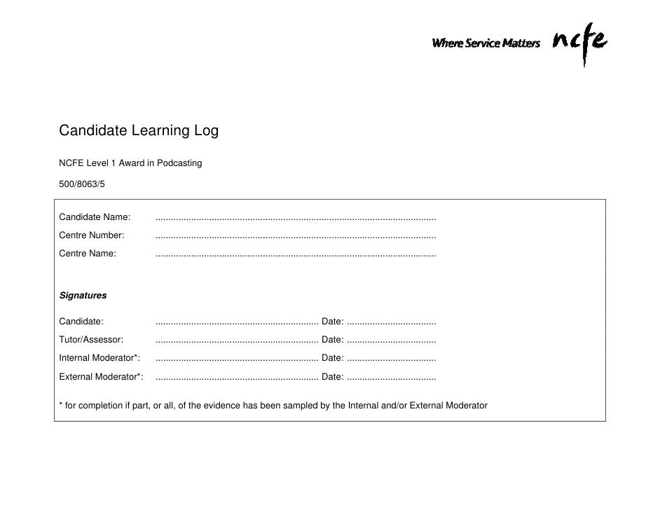 Candidate Learning LogNCFE Level 1 Award in Podcasting500/8063/5Candidate Name:         .....................................
