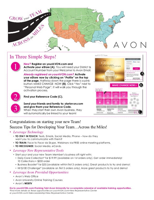 BB Congratulations on starting your new Team! New? Register on yourAVON.com and Activate your eStore (A). You will need yo...