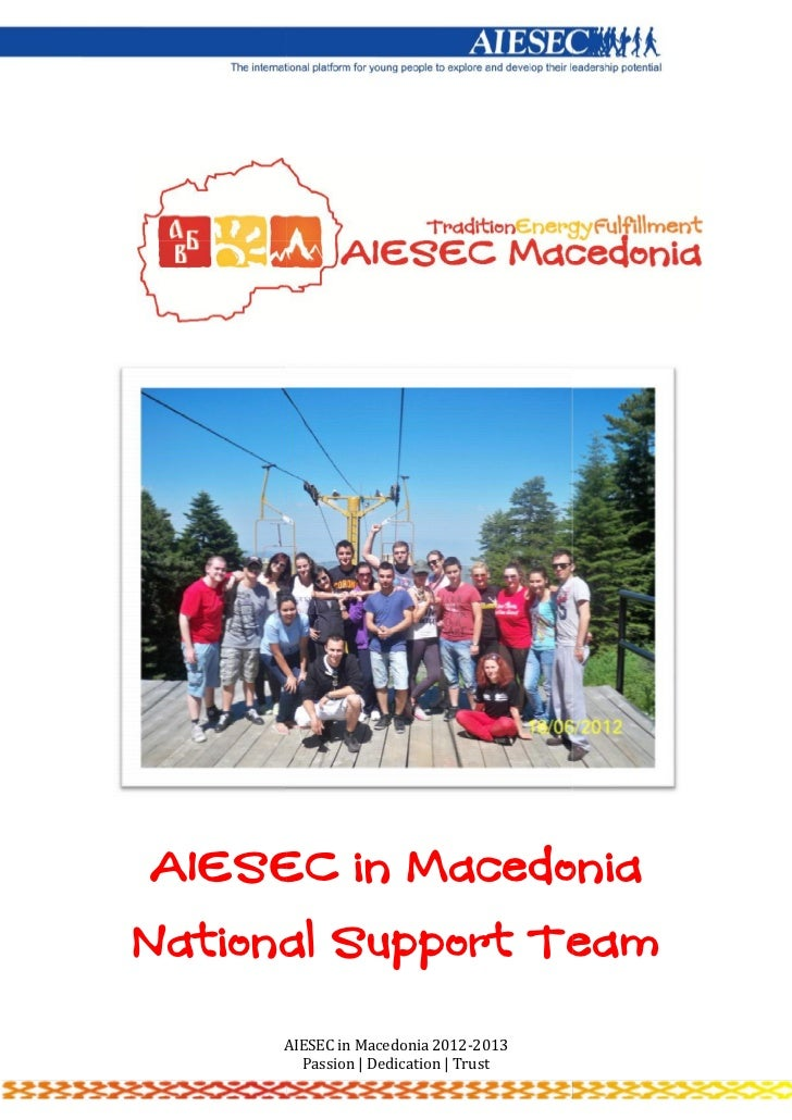 AIESEC in MacedoniaNational Support Team      AIESEC in Macedonia 2012-2013        Passion | Dedication | Trust