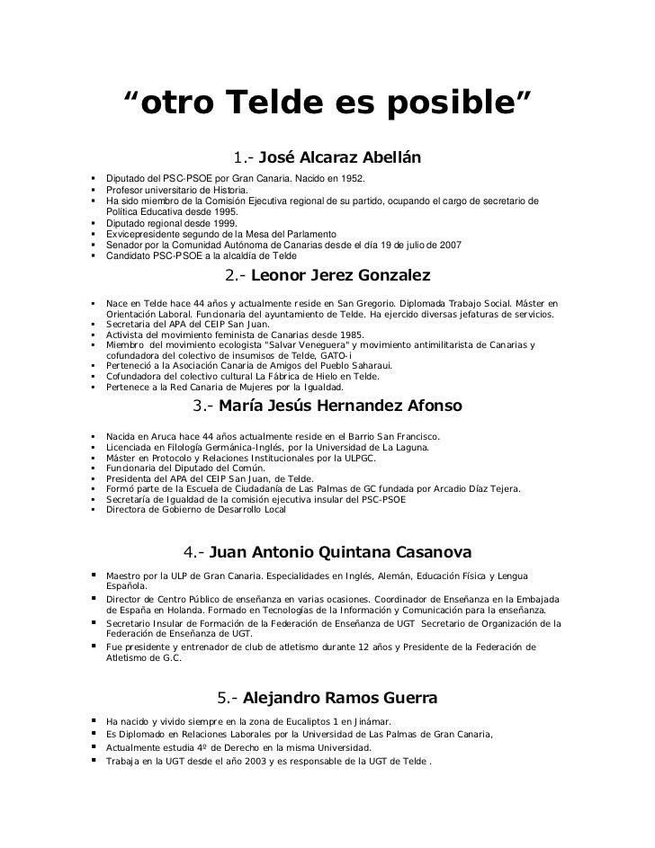 """""""otro Telde es posible""""                             1.- José Alcaraz AbellánDiputado del PSC-PSOE por Gran Canaria. Nacido..."""