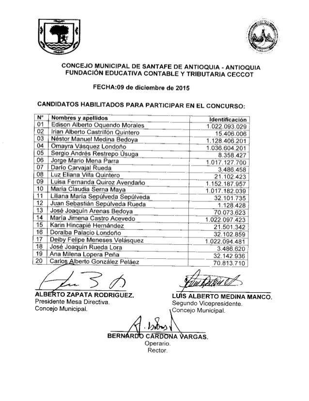 Candidatos habilitados Personero 2016