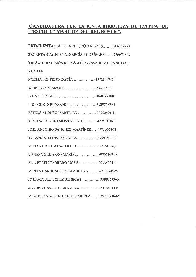 Candidatura junta ampa    maig 2014