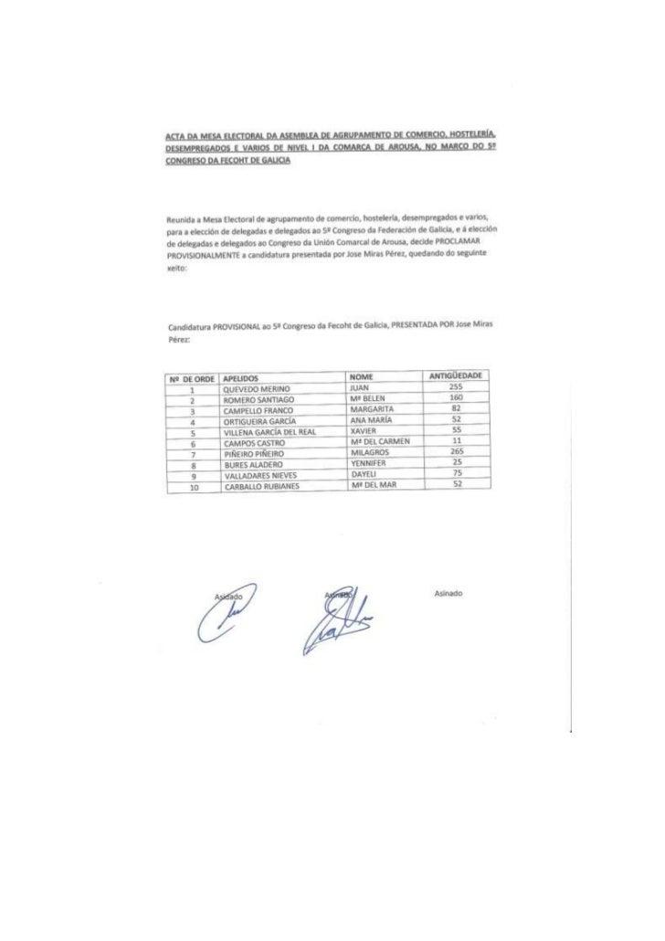 Candidaturas provisionales comarca de arousa para o 5º congreso de fecoht galicia e da u.c. de arousa